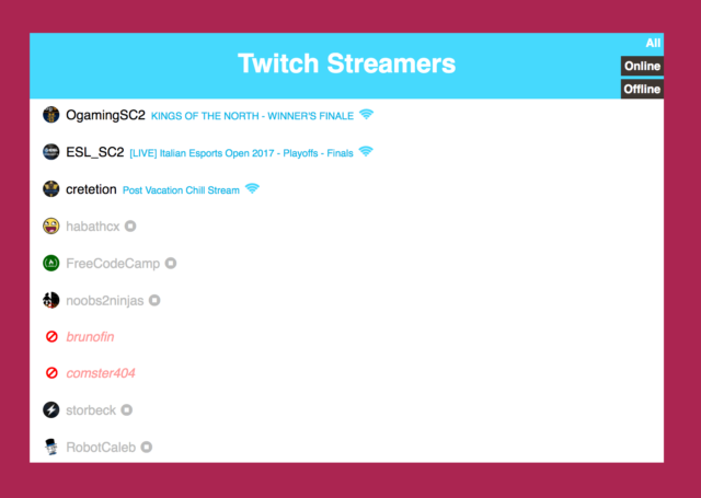 twitch streamer status on codepen